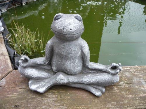 Steinfigur Frosch für Garten Deko-Tier Figur -Koi Teich Gartenfiguren Steinguss