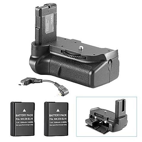Neewer® Pro (Version Pro de Neewer produit) de la poignée batterie Fonctionne avec EN-EL14 Batteries + 2 pièces de remplacement EN-EL14 Batterie 7.4V 1200mAh pour Nikon D5100 5200 D5300 DSLR