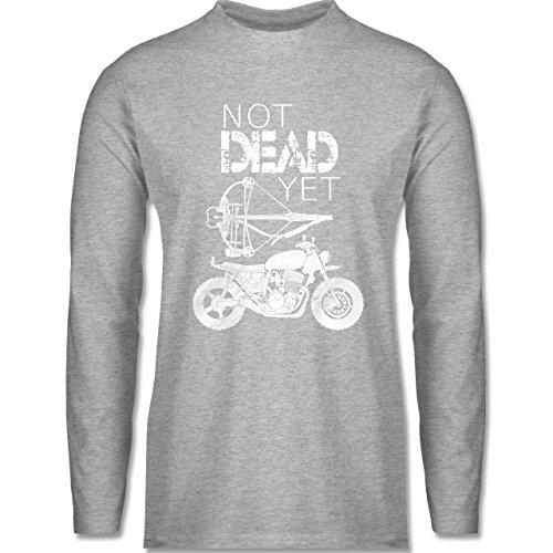 Statement Shirts - Not Dead Yet - Motorrad Armbrust - Herren Langarmshirt Grau Meliert
