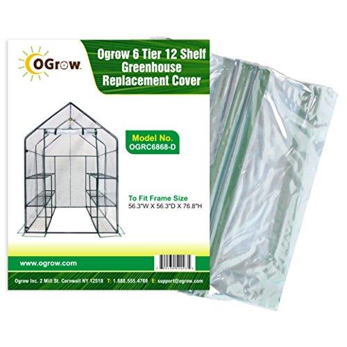 Ogrow Bâche de rechange pour serre à 6 niveaux et 12 étagères Pour structure de dimensions 143 x 143 x 195 cm (l x Lg x H)
