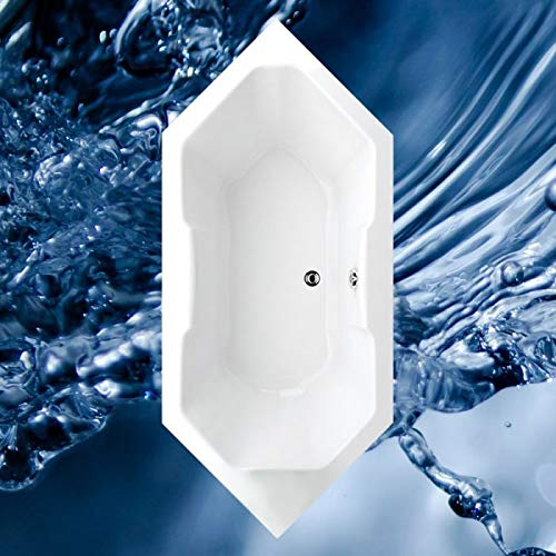 Badewanne 180x80 cm oder 190x90 cm MALTA - Acryl 6-Eckbadewanne Größe 190x90 cm