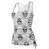 TTsky Women's Skull Printed Summer Vest Top Sleeveless Blouse Tank Tops Shirt White S
