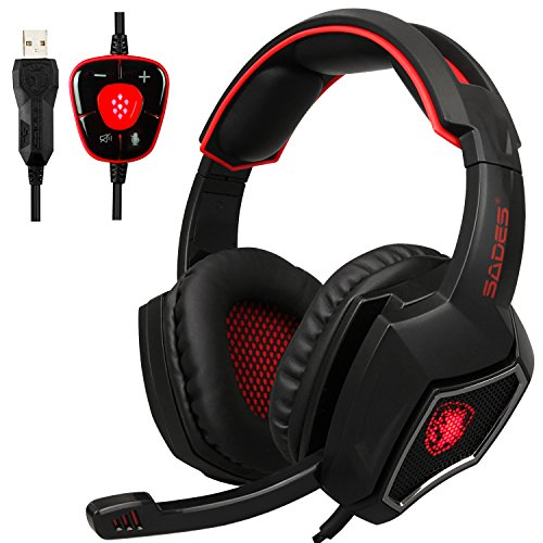 [Neue USB-Computer-Kopfhörer mit Mikrofon] Spirit Wolf Over Ear 7.1 Surround-Sound PC-Gaming-Headset mit Noise Cancelling / Breathing Light in Schwarz Rot