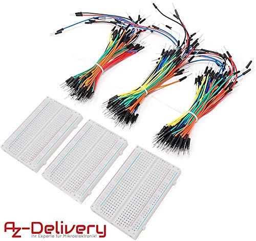 AZDelivery Breadboard Kit - 3 x 65Stk. Jumper Wire Kabel M2M und 3 x Mini Breadboard 400 Pins für Arduino, Raspberry Pi