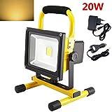 SAILUN 20W Gelb LED Warmweiß Strahler 1600LM Fluter Handlampen Flutlicht Arbeitsleuchte 3 Stunden Dauerlicht Tragbar wiederaufladbare Fluter Wasserdicht IP65 (20W Warmweiß )