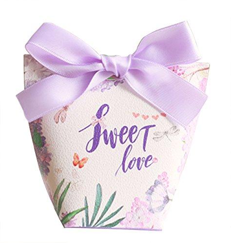 niedliche lila Baby-Dusche begünstigt Bonbonpapier romantische Hochzeit Gunsten Candy-Box mit Band 50 Stück (Bonbons oder Pralinen nicht enthalten)