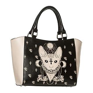 Banned Bastet Sphynx Cat Tote Bag Alternative Handbag Black/Cream - One Size