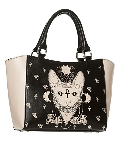 Banned Bastet Chat Sphynx Sac Alternative De Sac Sac à main Noir/Crème - Noir, One Size