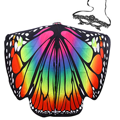 BESPORTBLE Halloween Kostüme für Frauen Weihnachtsfeier Prop Schmetterlingsflügel Schal Strand Sommer Tippet Mit Maske für Frau Dame Mädchen (Bunte)