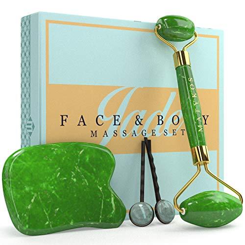 Rodillo certificado de Jade para la cara y Gua Sha Cuidado de la Piel Herramientas por Matykos - certificados verdes Xiuyan Piedras - Anti Aging productos de masaje para drenaje linfático y arrugas