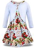 Bonny Billy Mädchen Bekleidungsset 2tlg Langarm Strickjacke + Ärmelloses Blumenmuster Kleid 4-5 Jahre/104-110 Erdbeere Set