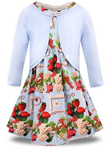 Bonny Billy Mädchen 2 Stücke Blumen Gedruckt Kleid und Stricken Strickjacke Set 150 Erdbeere, Blaues Outfit