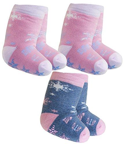 Ewers 3er Pack Babystoppersocken Sparpack Stoppersocken Mädchensocken ABS Socken Babys (EW-225002-W17-BM0-1709-1709-3600-19/22) in Altrosa-Altrosa-Jeans, Größe 19/22 inkl. EveryKid-Fashionguide (Reichen Baumwolle-jeans)