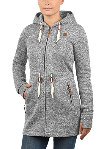 DESIRES Thora Damen Lange Fleecejacke Sweatjacke Jacke Mit Kapuze Und Daumenlöcher, Größe:XL, Farbe:Dark Grey (2890) - 2
