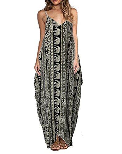 ASSKDAN Femme bohême Maxi Longue Robe Imprimé à Motifs d'éléphant à Bretelle Sans Manche Col V Profonde Robe d'été Noir