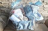 Baby unisex Geschenkset - Präsentkorb +7 tlg. zur Geburt -Taufe Willkommen im Leben (hellblau)
