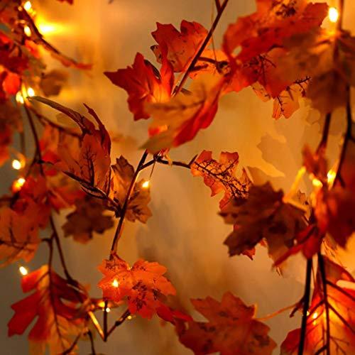 FORH Lichterkette Halloween 1.5M LED Beleuchtet Herbst Kürbis Ahorn Blätter Garland Decor ür Balkon, Garten, Partys, Hochzeit, Bäumen, Weihnachten, Halloween, Valentinstag (Gelb)