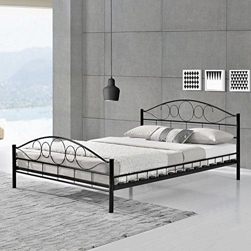 "Metallbett ""Toskana"" - 140 × 200 cm - schwarz - Bettgestell aus Metall mit Lattenrost | ArtLife"