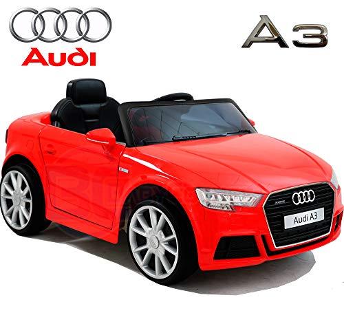 BC Babycoches - Audi A3 - Coche elétrico niños - Coches con Mando 2.4Ghz- Coches de batería 12v - Coche con Equipo de Audio, USB, SD, MP3 (Rojo)