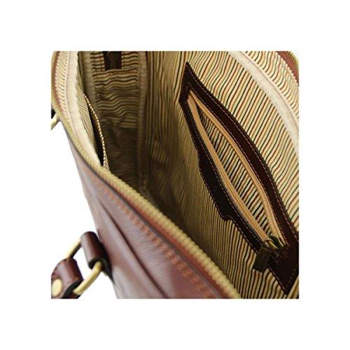 Tuscany Leather - Prato - Esclusiva cartella porta notebook in pelle Testa di Moro - TL141283/5 Testa di Moro