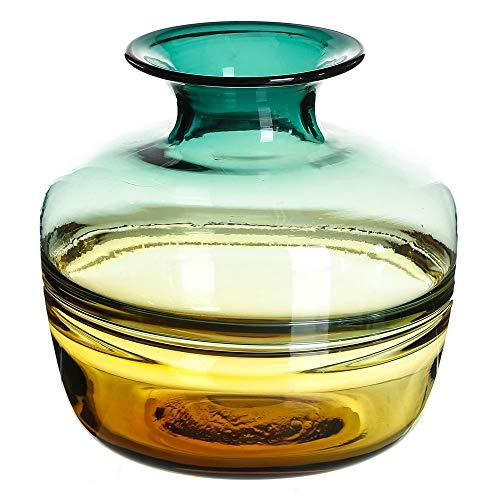 Jarrón Decorativo Cristal Amarillo Vintage ø 24x24