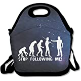 Black Stop Following Me Caveman Lunch Bags For Man And Woman