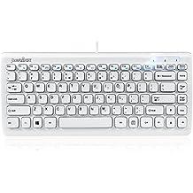 Perixx PERIBOARD-407W ES, Mini teclado con cable - Interfaz USB - Color Blanco Piano - Tamano del Teclado: 320x141x25mm - Teclado tipo chiclet - Espanol QWERTY