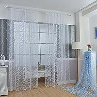Juego de cortinas Fastar transparentes de gasa con motivo floral y cenefa, Blanco, B:100*270cm