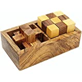 SKAVIJ Wooden 3D Brain Teaser Burr Interlocking Disentanglement Maze Sequential And Snake Cube 2-in-1 Puzzles Gift Set Handmade Toy Educational Travel Puzzle Games For Kids & Adults