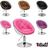 Lounge Sillón Chesterfield de 1stuff–Retro Sillón, giratoria, Bar Silla, Club, cóctel Sillón, silla de comedor, silla, altura regulable, 360grados.–Funda: tejido mixto de lino