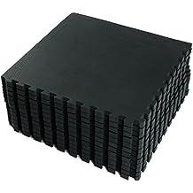 FB FunkyBuys®, colore nero, 64mq. Tappetini a incastro, reversibili, per proteggere il pavimento, adatti per (Reversibile Mat)