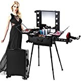 House of Quirk Pro Studio Aluminium Professional Makeup Artist Organizer Trolley Cosmetic Train Case Table with Lights, Black
