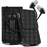 Spyrox - Carbon Black Sony Xperia X Compact Hülle Vertikale PU Ledergürtel Telefon Halter Holster Fall Abdeckung & Handsfree Colour Coded Earphones