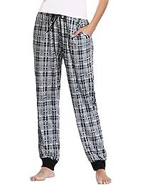 Hawiton Pijama Pantalones Largo Mujer Invierno Pantalon de Pijama Mujer de Cuadros Cómodo Casual Suave