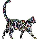 Pegatina Transfer para Impresión en Camiseta con Diseño de Silueta de Gato y Motivos Florales Nº1 Diseño Clásico Hipster Retro para Sudaderas Camisetas Suéteres Diseño Creativo Personalizado - A4 (28 x 18cm), Blanco