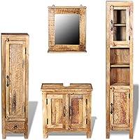 Festnight Mueble de Lavabo on Espejo y 2 Armarios Laterales - Material de Madera Mango - mueblesdebanoprecios.eu - Comparador de precios