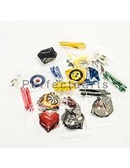 PerfectDarts - Set de 30 plumas estándar para dardos y 30 cañas variadas (diferentes diseños)