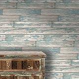 Descamación Tablas Clark y Clarke panel de madera Efecto De imitación papel pintado Color Azul - Rollo Completo