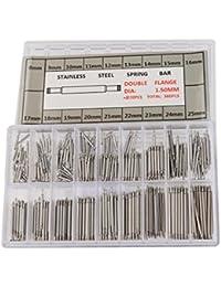 Tinksky Federsteg Uhren-Werkzeug für Uhrarmband-Wechsel Uhrmacher in 18 verschiedenen Größen 8mm - 25mm (Silber)