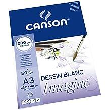 Canson Imagine - Bloc papel de dibujo, A3 - 29.7 x 42 cm, color blanco puro