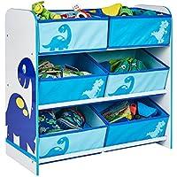 Preisvergleich für Dinosaurier - Regal zur Spielzeugaufbewahrung mit sechs Kisten für Kinder