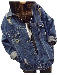 Hongxin Retro Frauen Freund Übergröße Lose Jacke Lässige Knopf Denim Mantel  Outwear Übergangsjacke Leichte Jeans Jacke 60d9bdf024
