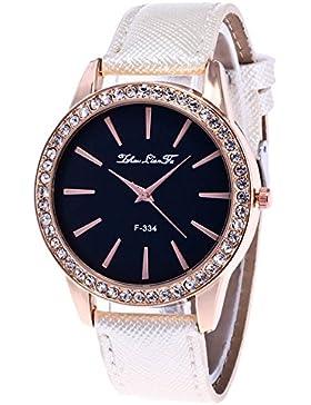 Souarts Damen Armbanduhr Einfach Stil Analoge Quary Uhr mit Batterie Weiß