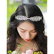 handmadejewelrylady novia hojas pelo Vine cristal boda brillantes diadema  pelo Vine para mujer noche fiesta accesorios d5bc551d230b