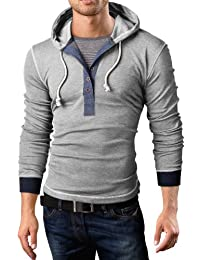 Grin&Bear Slim Fit sweat shirt, pull à capuche, 2 in 1 henley, BH131, BH130
