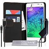 Yousave Accessories Coque Samsung Galaxy Alpha Etui Noir PU Cuir Portefeuille Housse Avec Chargement Micro USB Et Chargeur De Voiture