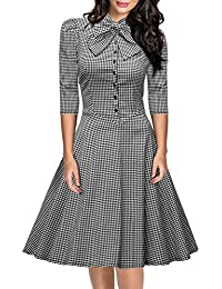 Miusol® Damen 3/4 Arm Winter Rockabilly Retro Hahnentrittmuster Faltenrock Business 50er Jahr Kleider Grau EU 36-46