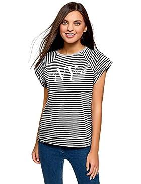 oodji Ultra Donna T-Shirt Stampata in Maglia con Orlo Grezzo