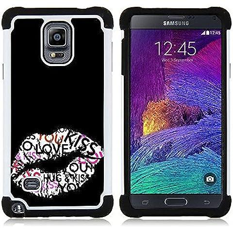Samsung Galaxy Note 4 IV / SM-N910 - 3 en 1 impreso colorido de Altas Prestaciones PC Funda chaqueta Negro cubierta gel silicona suave (Beso Labios Hug miel Sexy Negro