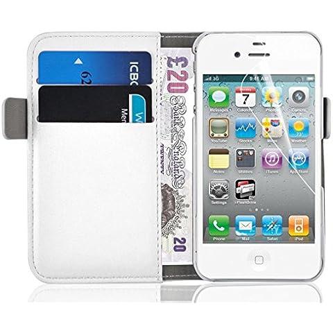 [ iPhone 4 y 4S Cover ] - Funda Jammylizard De Piel Tipo Cartera Luxury Wallet Case, BLANCO
